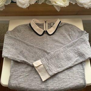 J. Crew Peter Pan Collar Grey Sweatshirt Top S